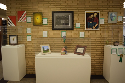 Fall 2018 Art in the Library Reception: Gallery wall 2