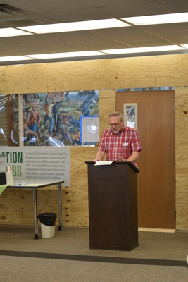 Art in the Library Exhibition Spring 2018, Roger Weaver at podium