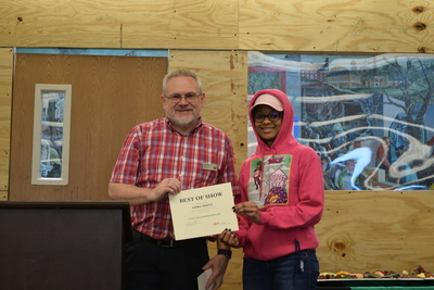 Art in the Library Exhibition Spring 2018, Roger Weaver and Erika Simple with award