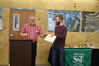 Art in the Library Exhibition Spring 2018, Roger Weaver giving award to Ben Palmer
