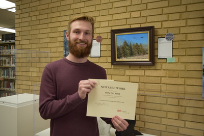 Art in the Library Exhibition Spring 2018, Ben Palmer with award by art: Notable Work