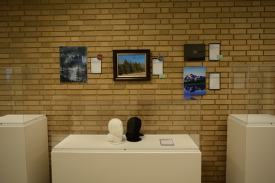 Art in the Library Exhibition Spring 2018, Gallery with cases