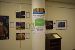 Art in the Library Exhibition Spring 2018, Gallery, with poster and comment podium