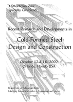 (2002) - 16th International Specialty Conference on Cold-Formed Steel Structures