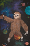 Sloth with Choccy Milk In Space by Madison E. Bowen